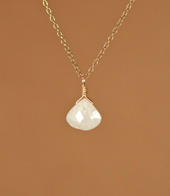 Silverite necklace - crystal necklace - simple - everyday - corundum - white - a wire wrapped silverite drop on a 14k gold vermeil chain
