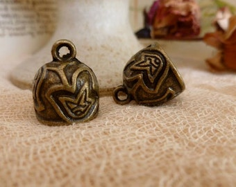 2x Bell Shaped Pendant Charms, Jewellery Findings C552