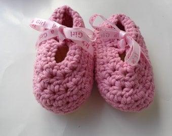 Pink Crochet Booties, Baby Girl Booties