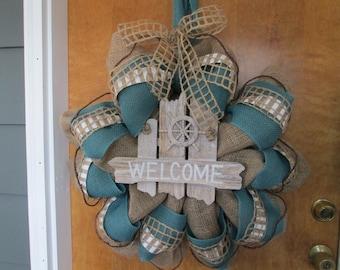 Beach wreath,burlap wreath,door decor,summer home decor,beach house wreath,welcome wreath