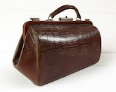 French Antique Faux Croc Leather Doctor Bag