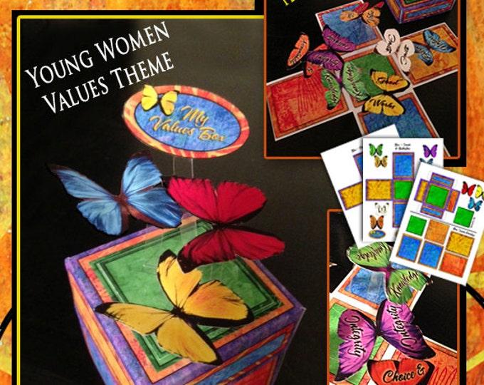 Printable Exploding Box YW Young Women Values Theme