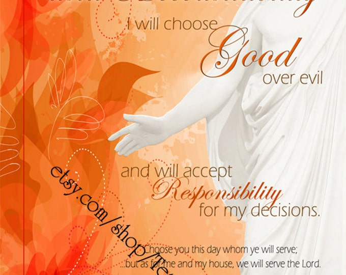 "Printable - 3 sizes! LDS Young Women Personal Progress Values ""Choice and Accountability"" Art 2014 Instant Download Digital Files"