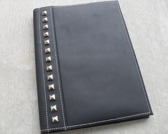 "Black Leather Studded Padfolio - ""The Boardroom Biker"""