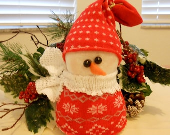 Christmas Snowman, Holidays, Holiday Decor, Christmas Decor, Seasonal Decor, Sock Snowman,Red Sweater Snowman
