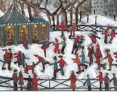 BOXED HOLIDAY CARDS of Skaters in Frog Pond, whimsical. reproductions of original artwork by Michelle Winters