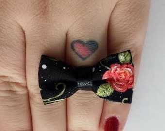 Pink Flower Fabric Bow Adjustable Ring