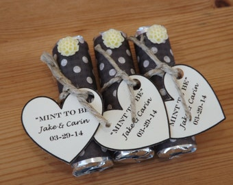 Mint to be Favors- Wedding, Bridal Shower Favors- Personalized Mint to Be Favors- Cream & Black-Set of 24