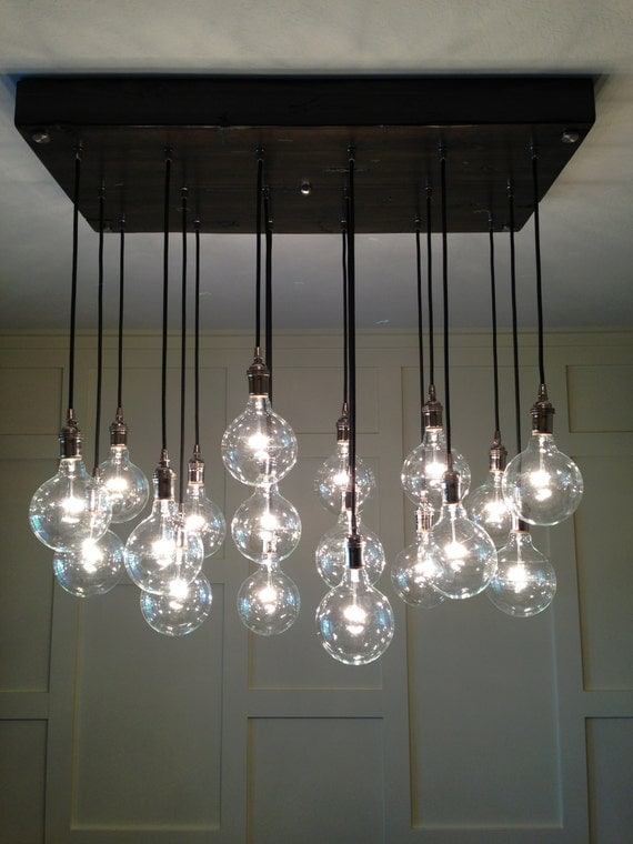 Custom Industrial Chandelier With Modern Glass By