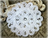 White Unique Vintage Handmade Cotton Crochet Doily Approx. 6 inches across DL-006