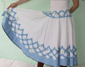 Bill Blass Vintage Tablecloth ELEGANT full circle skirt blue, one-of-a-kind, great Country Western DANCE!