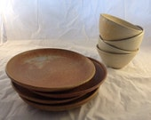 Reserved for carol: Set of four General Purpose Stoneware Bowls and four plates Creamy Lavender, Buttery Yellow, and White