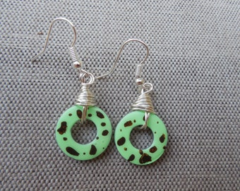 Mint Chocolate Chip Washer Earrings