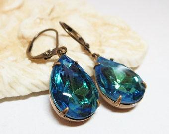 Blue Green Glass Earrings Dangles Rhinestone Drops Vintage Jewels Downton Abbey Estate Style Old Hollywood Bridal Wedding