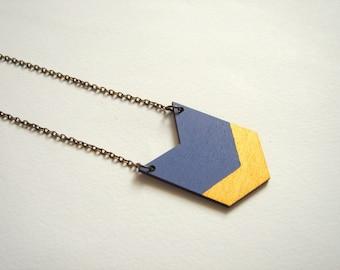 Jeans Blue&Gold Chevron Necklace, Wood Geometric Necklace, Hand Painted  Wood Necklace,Geometric Jewelry