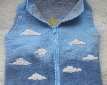 "Hand made Merino wool vest for boy, Warm woolen vest for baby, felted wool vest ""Sky"""