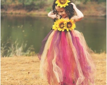 Fall Sunflower tutu dress- Newborn to 4T sizes