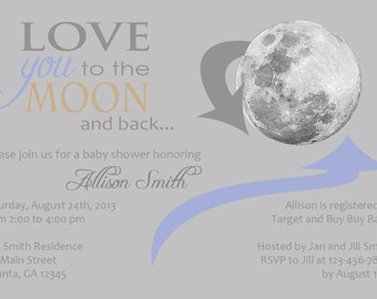To The Moon Baby Shower Invitations (Boy or Girl) Gray, Pink, Blue, Tan