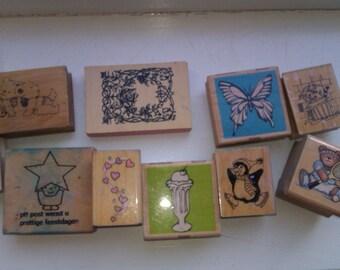 Destash used wooden/rubber stamps