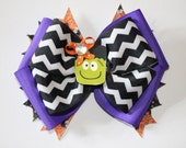Stacked halloween bow, Frankenstein hair bow