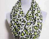 Leopard Infinity Scarf Leopard Scarf Gray Leopard Scarf with Bright Dots Soft and Chunky Infinity Scarf