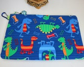 Back to School Dino Dudes in Blue Kids Pencil Case or Zippered Pouch