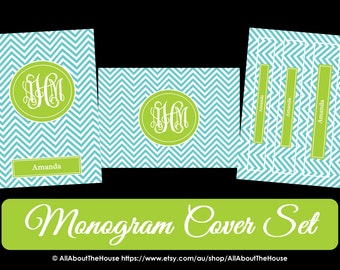 Printable Chevron Binder Cover & Spine-Desktop Background-Binder Cover-Personalised-Monogram Binder Cover-Monogram Stationery-Preppy-School