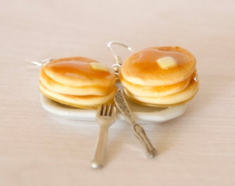 Pancake earrings kawaii made of Polymer clay miniature food jewelry