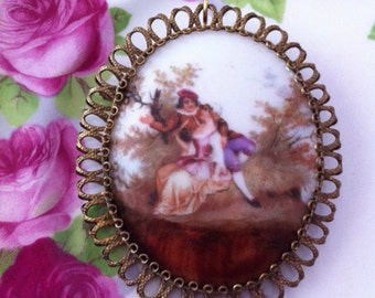 Antique hand painted porcelain brooch pendant