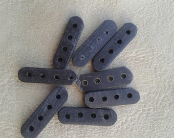10 Black carved Bone spacers with 4 holes Ethnic Tribal Native American