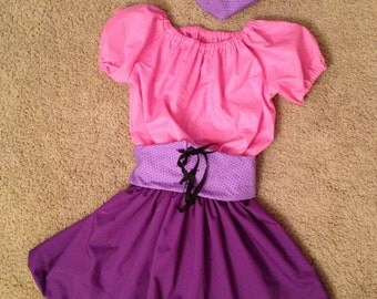 Pink and Purple Pirate Girl 3 piece Costume