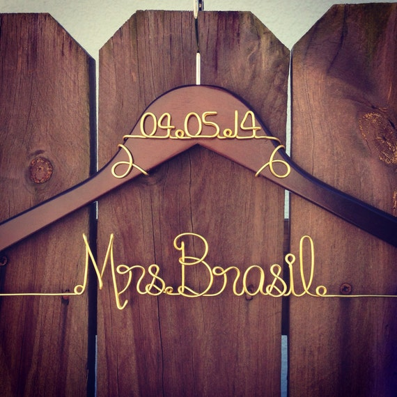 Personalized custom wire wedding hanger and date bridal for Wedding dress hanger name