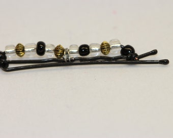 Beaded Bobby Pin - Black Clear and Metal