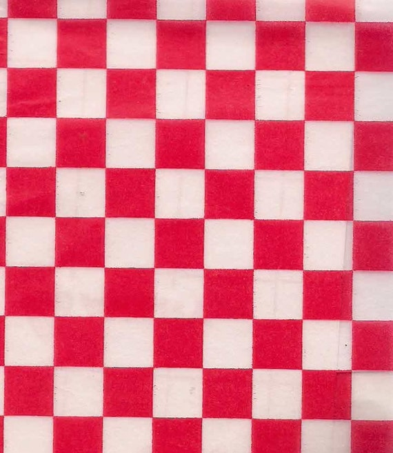 Picnic Red White Check Wax Paper Checkerboard Food Safe Basket Liners