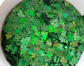 Holo Green Clovers .125 - Nail Glitter - Solvent Resistant- SAMPLE to 2 oz