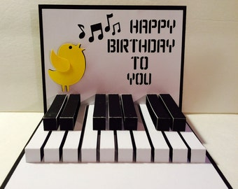 Happy Birthday Piano, 3D  Popup SVG Cutting File