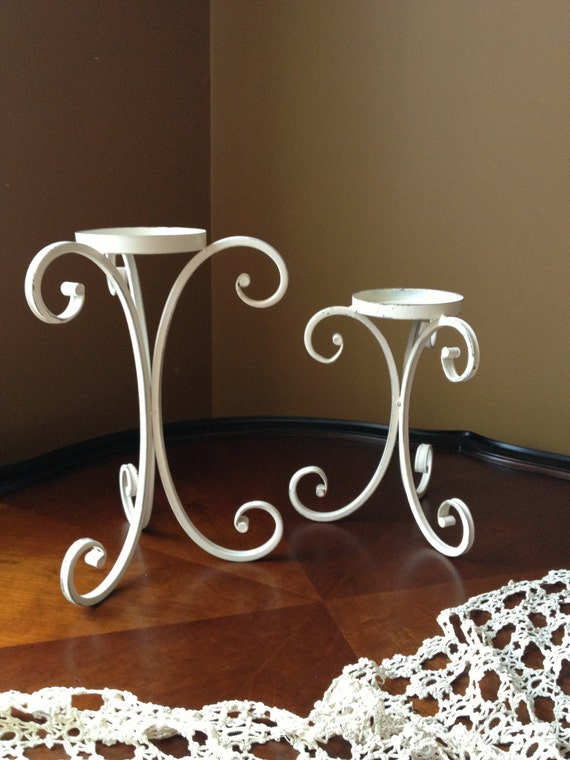 White Metal Pillar Candle Holders : Shabby chic white metal pillar candle holders set by