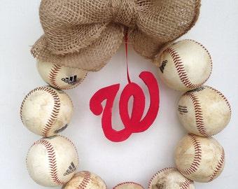 Washington Nationals Burlap Baseball Wreath