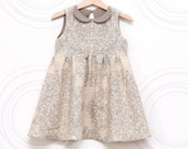 Girls linen party dress Peter Pan collar Cut out back Beige sandy color dress Wedding Flower girl Special occasion // sizeUS 1-6 (EU80-116) - ZanziBach