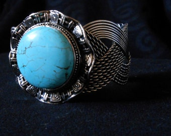 Vintage Howlite/Turquoise Silver Cuff Bracelet