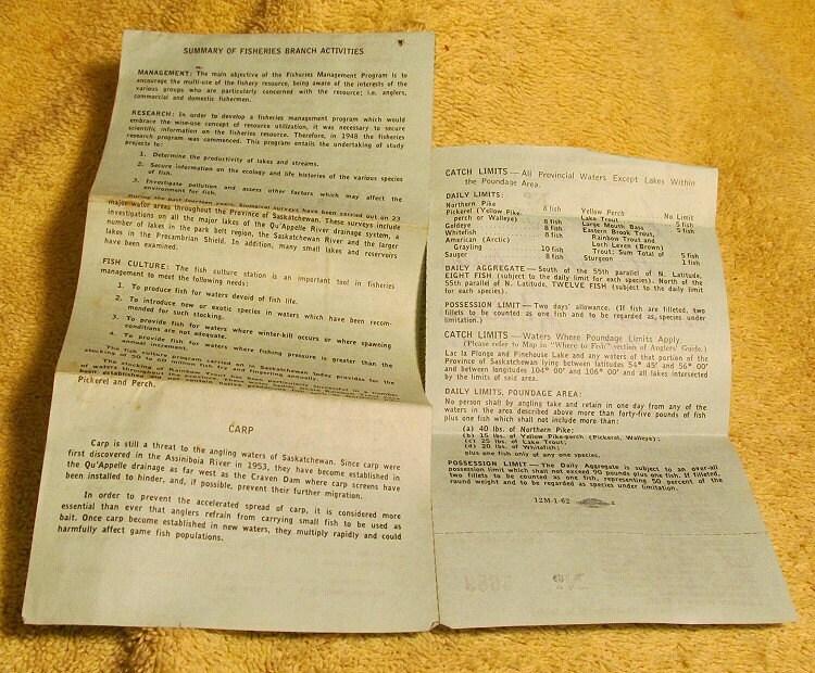 1962 saskatchewan canada fishing license canadian big game for Bc fishing license