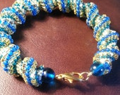 Blue and Gold Beaded Cellini Spiral Bracelet