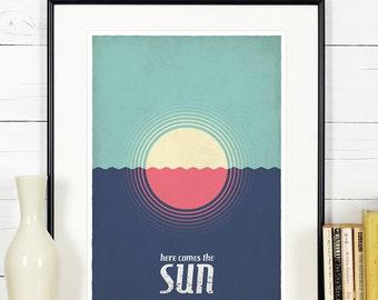 Retro poster, sun, sea, ocean, coast, beach, vintage A3 poster, Scandinavian colors, retro wall decor, summer, summertime, Beatles