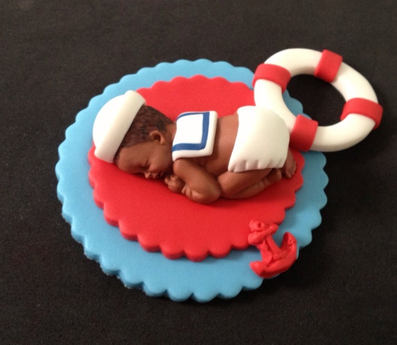 fondant edible baby sailor cake topper
