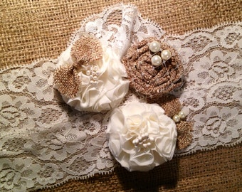Wedding Garter, Rustic Wedding, Rustic Wedding Garters, Burlap Garter, Fall Wedding Garter, garter,  garters, wedding garters, Bridal, I DO