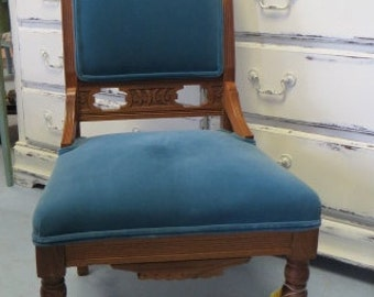 Vintage  Blue Upholstered  Wooden Carved Chair