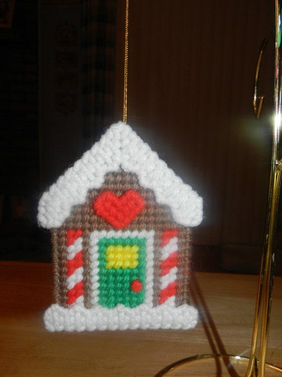 Vintage Caron Plastic Canvas Needlepoint Santa Ornaments ...