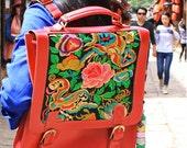 Chinese folk style handmade embroid leather backpacks