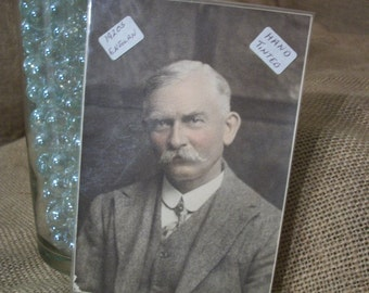 Vintage 1920s Hand Tinted Photo of Middle Aged Male
