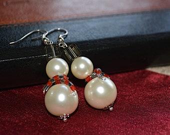 Snowman Pearl Earrings - Lovely Christmas Gift or Stocking Filler